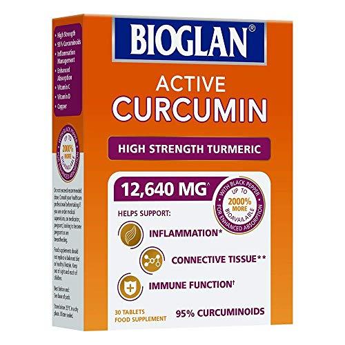 (2 Pack) Bioglan Active Curcumin, High Strength Turmeric Extract 30 Tablets