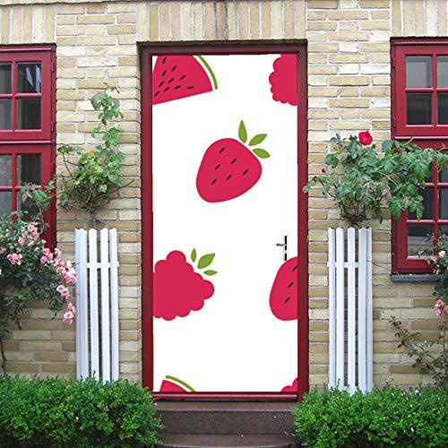 DUKAI Moderne Kunst 3D Tür Aufkleber, Muster Erdbeeren Wassermelone Himbeeren schälen und Stick abnehmbare Vinyl Tür Aufkleber für Inneneinrichtungen, 30,3