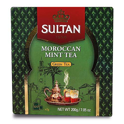 SULTAN TEA Moroccan Mint Tea Herbal Green Teas (Pack of 4 - 400 Tea Bags)