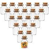 belle vous mini bottigliette vetro tappo sughero (100pz) vasetti vetro bomboniere da 5 ml - bottigliette vetro per arte, feste, messaggi e decorazioni fai-da-te - mini barattolo vetro tappo sughero