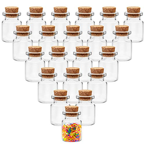 BELLE VOUS Bote Cristal Tapon Corcho (100 Piezas) -Mini Botellas de Cristal 5ml para Manualidades - Mini tarros para Bodas - Bote Pequeño Cristal, Fiesta, Almacenaje, Mensaje Deseo, Decoración