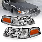 AmeriLite for 1998-2011 Ford Crown Victoria Black Replacement Corner Signal Headlights Lamps Pair - Passenger and Driver Side