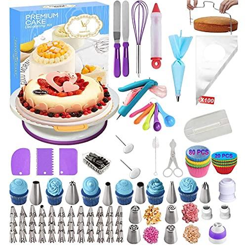 NuanXing Kit de decoración de Tartas, Plato Giratorio para Tartas con Kits de decoración de Tartas, 285 Piezas de Herramientas Completas de decoración de Tartas