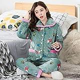 BAIMM Pyjama Femmes Hiver Cochon Peggy Flanelle Trois Couches matelassé rembourré Plus Velours Chaud Dames Service à Domicile.
