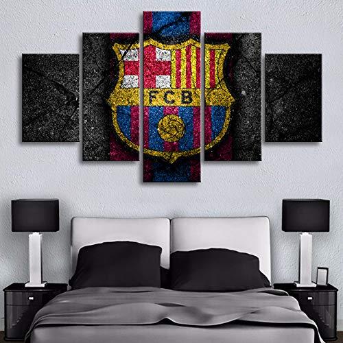 Große Barcelona Flagge Wand Poster Hd Fußball 5 Stücke Leinwand Gemälde Sport Wand Kunstdrucke Bilder Jungen Schlafzimmer Dekor Rahmen(With Frame size)