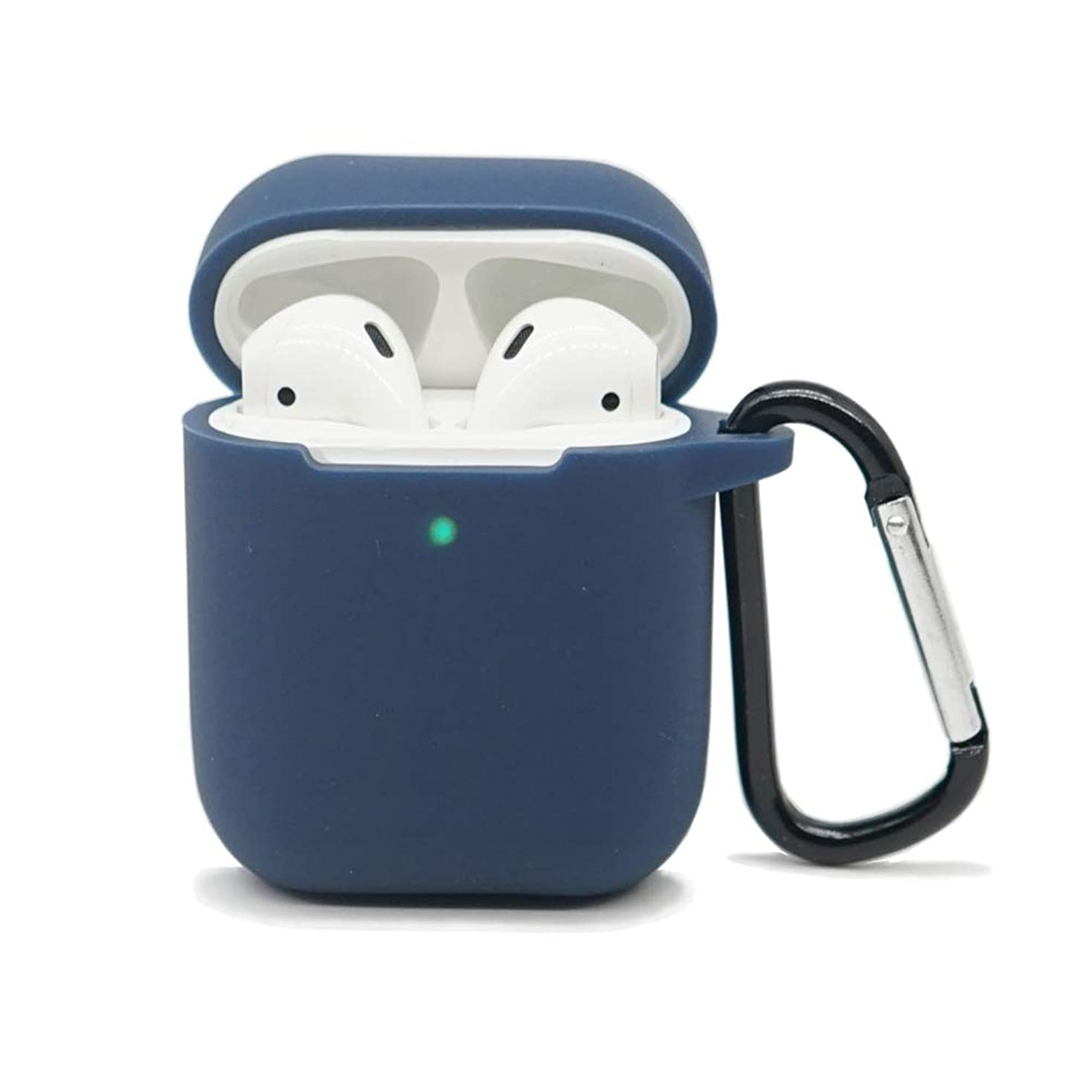 AirSha Compatible for AirPods Case with Keychain,[Front LED Visible]&[Support Wireless Charging],Shockproof Protective Silicone Cover Skin for AirPods Charging Case 2 & 1 (Midnight Blue)
