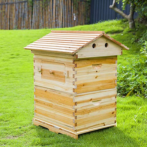 ZZQ Frei fließender Bienenstock aus Holz mit automatischen Rahmen für die Gartenbienenzucht