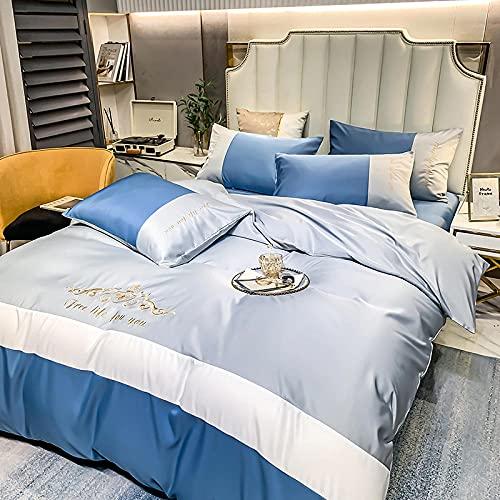 juegos de sábanas 160x200 verano,Juego de nórdices de verano bordado de seda, sábanas de cama con diapositivas ligeras cómodas con funda de almohada, dan el regalo de la madre del hogar-A_Cama de 2.0