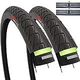 Fincci Par de Neumáticos para Bicicleta Híbrida Cubiertas con 2.5mm Anti Pinchazo 26 x 1,95 53-559 Schrader Tubos Interiores