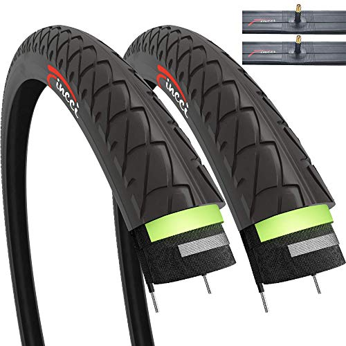 Pair of Fincci Slick Road Mountain Hybrid Bike Bicycle Tyres 26 x 1.95 53-559 and Schrader Inner Tubes with 2.5mm Antipuncture Protection