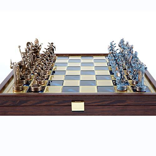 Manopoulos Juego de ajedrez de mitología griega, azul y cobre, caja de madera, tablero azul