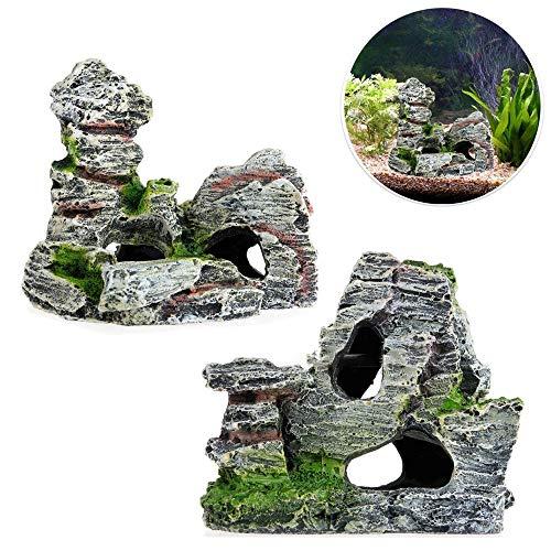 2pcs Aquarium Rock Cave Dekoration mit Grün Gras für Fische Garnelen Verstecken Aquarium Dekoration Harz Aquarium Zubehör,Aquarium Harz Höhle Mountain View Moos Baum Haus