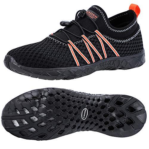 ALEADER Mens Xdrain Aqua Water Shoes for Boating Swim Pool Black/Orange 12 D(M) US