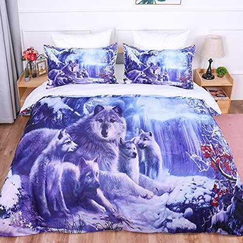 Juego de funda nórdica con estampado de edredón Snow Wolf 3D Animal Wolf Familia impresa con ropa de cama y cierre de cremallera para niños, niños, adultos, microfibra individual 135x200cm