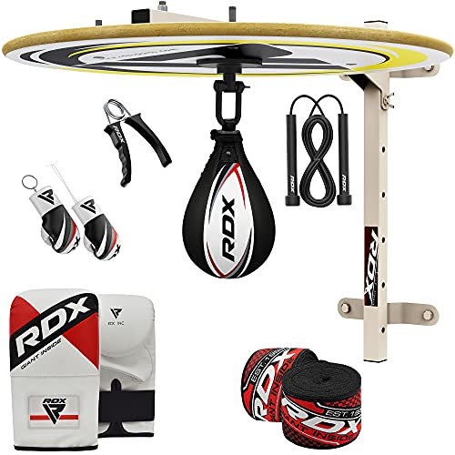 RDX 12 PC Boxing Speed Ball Heavy Platform MMA Cow Hide Leather Punching Bag Stand Workout Training