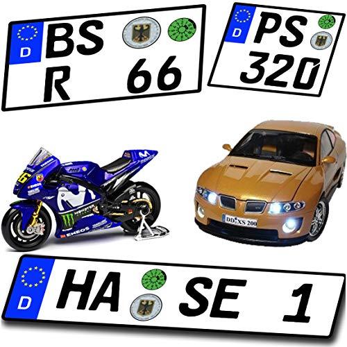 Wunschkennzeichen für Modellauto und Motorrad hochglänzend und selbstklebend für alle Maßstäbe - 1/6 - 1/10 - 1/12 - 1/18 - 1/24 - 1/32 - 1/43 - 1/60 - 1/64 -..