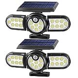Luces Solares Exterior, 120 LEDs Foco Solar Exterior con Sensor de Movimiento, Inalámbrico Luces de Pared Iluminación IP65 Impermeable para Jardín, Camino, Porche, Piscina, Patio (2 Piezas)