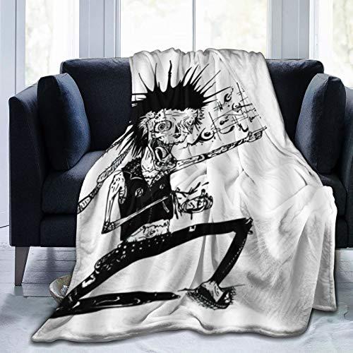 QIUTIANXIU Mantas para Sofás de Franela 150x200cm Creativo Zombie Devil Música Rock Alternativo Negro Blanco Manta para Cama Extra Suave