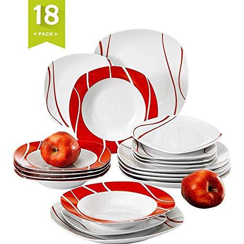 MALACASA, Serie Felisa, 18 Pezzi Servizio Piatti in Porcellana Bianca con 6 Piatti da Dessert, 6 Piatti Fondi e 6 Piatti per 6 Persone