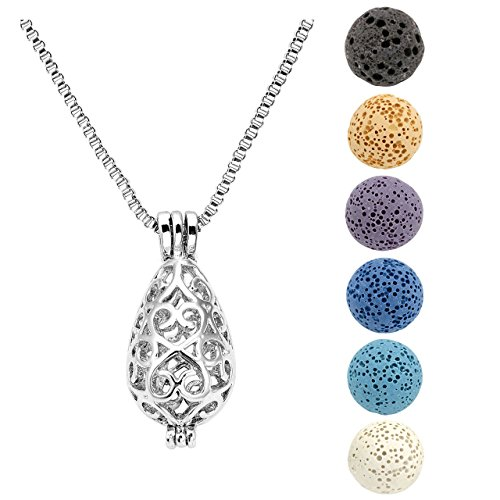 Jovivi Silver Plated Aromatherapy Essential Oil Diffuser Locket Pendant Necklace with 6 Dyed Lava Stone Beads