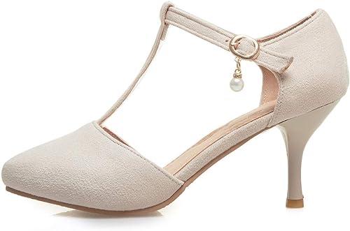 LIANGXIE Femmes de Pointe Orteil Bas 70mm Mid Heel T Sangle Haute Talons Cheville Sangle Sandales soirée Mary Jane Style Chaussures pour fête Robe Chaussures