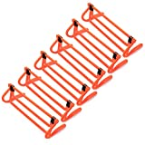 6-Pack of Agility Hurdles with Adjustable Height Extenders – Neon Orange Set & Carry Bag – Plyometric Fitness & Speed Training Equipment – Hurdle/Obstacles for Soccer, Football, Track & Field & More