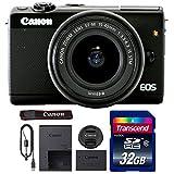Canon EOS M100 Mirrorless Digital Camera with 15-45mm Lens (Black) + 32GB Memory Card