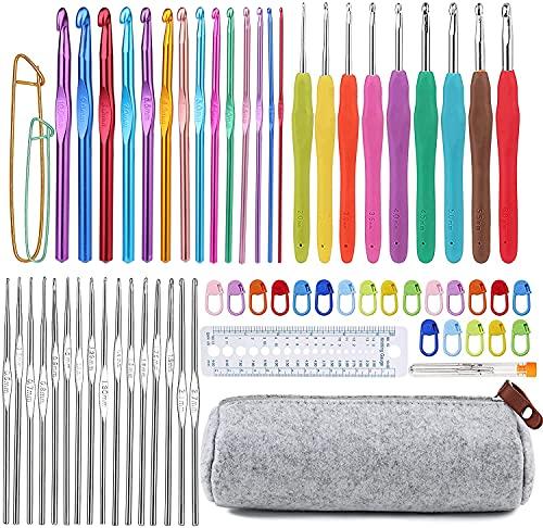 72 Pcs Crochet Hooks Set, Crochet Hooks Kit Plus Large Eye Blunt Needles Ergonomic Yarn Knitting Needles Marking Clips Tools Set with Crochet Needle Accessories
