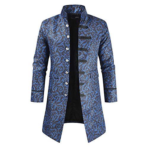 XLDD Herren Steampunk Vintage Tailcoat Jacke Gothic viktorianischen Mantel Party Uniform Kostüm Jacquard Tailcoat Stand Kragen Einzigartiges Design Stilvolle Mantel Halloween Kostüm 4XL