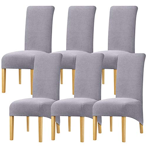 YZFZP Large Size Dining Room Hotel Fleece Fabric Stretch Chair Cover Grey 6 Pieces