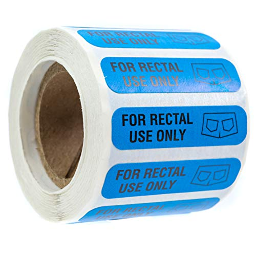 SBLABELS 500 for Rectal Use Only Stickers / 1.5' x .375' Blue Stickers with Permanent Adhesive