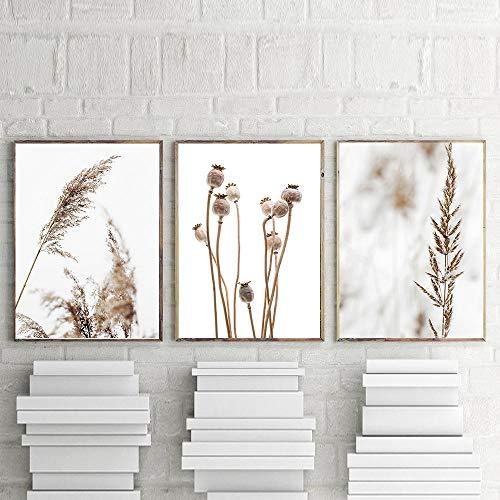 hdbklhjxk Rijst paardenbloem Home Green Plant Art Canvas schilderij Nordic Poster en afdrukken drukbare wandafbeeldingen voor de woonkamer 40x60cmx3 niet ingelijst
