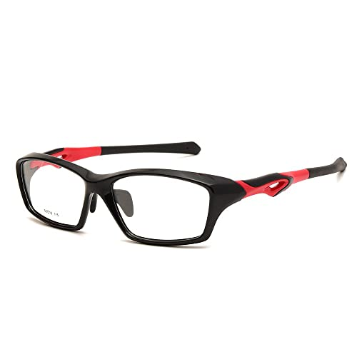 c1d6e9471d9 Langford Sport Fashion TR-90 Rectangle Full Frames Eyewear Glasses 56 mm  Clear Plastic Lens