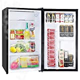 Merax 3.2 Cu.Ft. Compact Refrigerator, Mini Fridge with Freezer, Reversible Door, 5 Settings, Energy Star Single Door Refrigerator for Kitchen, Dorm, Apartment, Bar, Office (Black)
