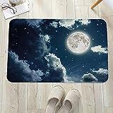 Alfombrilla de baño antideslizante, para baño o ducha,Cielo nocturno, cielo nocturno oscuro con estrellas y luna lle, alfombra de suelo absorbente, para sala de estar, sofá, cojín, caucho, 60 x 100 cm