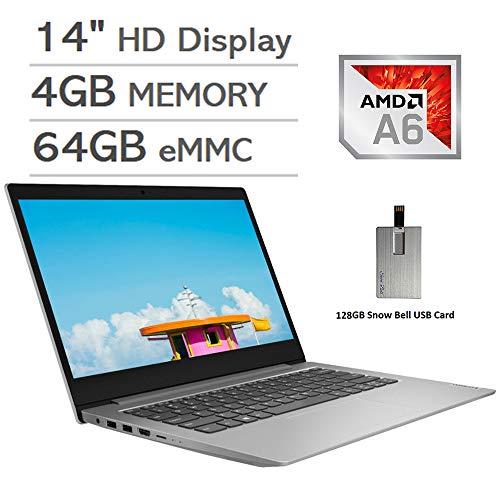 "2020 Lenovo IdeaPad 14"" HD Display Laptop Computer, AMD A6-9220e Processor, 4GB RAM, 64GB eMMC, 1 Year Office 365, AMD Radeon R4 Graphics, HDMI, Windows 10 S, Gray, 128GB Snow Bell USB Card"