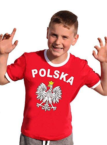 Polen T-Shirt Kinder Ringer rot, 140