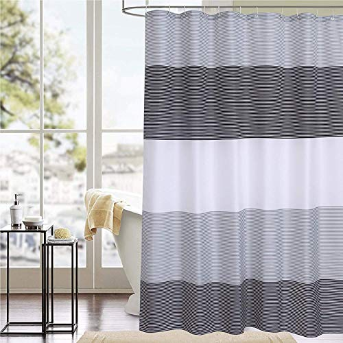 SUN-Shine Elegante Geometrische Vorhänge Dusche fischgratware, Polyester Bad Vorhang Mehltau Resistent & Wasserfest, Grau Weiß 72