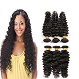 Deep Wave Brazilian Hair 3Pcs Human Hair Weave 3 Bundles Grade 8A Unprocessed Virgin Real Weft Hair Thick For Black Women 12 14 16 Inch
