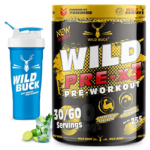 WILD BUCK Wild Pre-X3 Hardcore Pre-Workout Supplement with Creatine Monohydrate, Arginine AAKG, Beta-Alanine, Explosive Muscle Pump -For Men & Women [30-60 Servings, Virgin Mojito, 255g] Free Shaker