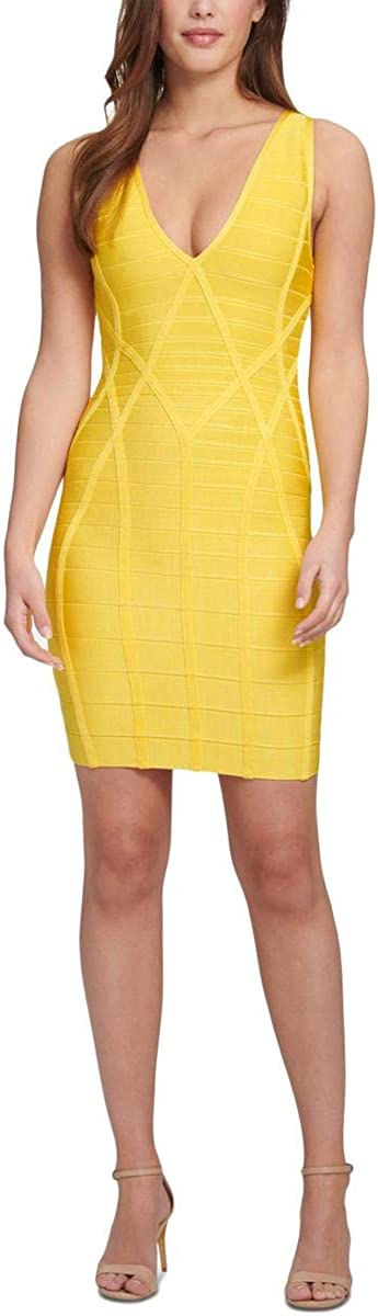 NEW before selling GUESS Womens Open Back Bodycon Phoenix Mall Dress Yellow V-Neck