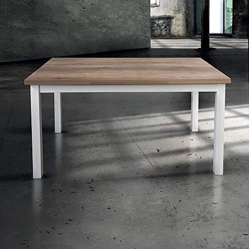 Milani Home s.r.l.s. Tavolo da Pranzo Moderno di Design Allungabile Cm 80 X 130/170/210 Struttura Bianca Piano Tortora per Sala da Pranzo Ristorante