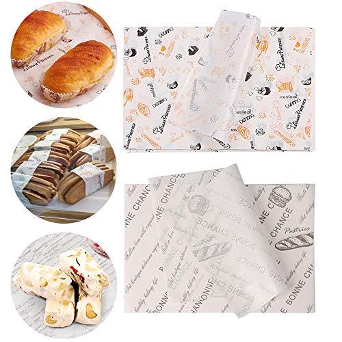 afdg Geschenkpapier zum Backen, 200 Blatt Lebensmittelverpackungs Papier, Wachspapier, Fettdichtes Papier für Burger, Käse, Kuchen, Brot, Pommes Frites, Pizza usw (26 * 36cm)