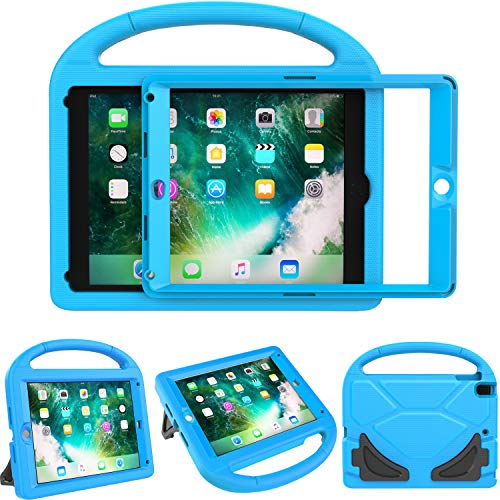 TIRIN Kids Case for iPad 9.7 2018 Case for Kids, Built-in Screen Protector Shockproof Light Weight Friendly Handle Stand Case for iPad 9.7 Inch 2018/2017 (6th/5th Gen) - Blue
