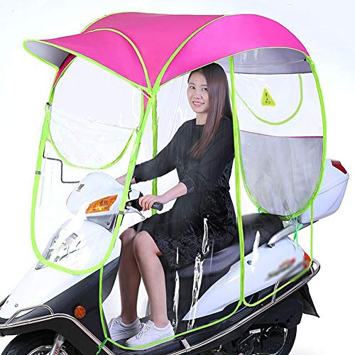 HHORD Ombrello Impermeabile Pieghevole Elettrico Completamente Chiuso per Bicicletta Universale, Parapioggia Parasole, Ombrello Moto (per Tipo con Specchio),Rosso