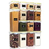 Vtopmart Airtight Food Storage Containers Set with Lids, 15pcs BPA Free Plastic Dry Food Canisters for Kitchen Pantry Organization and Storage, Dishwasher safe,Include 24 Labels, Yellow