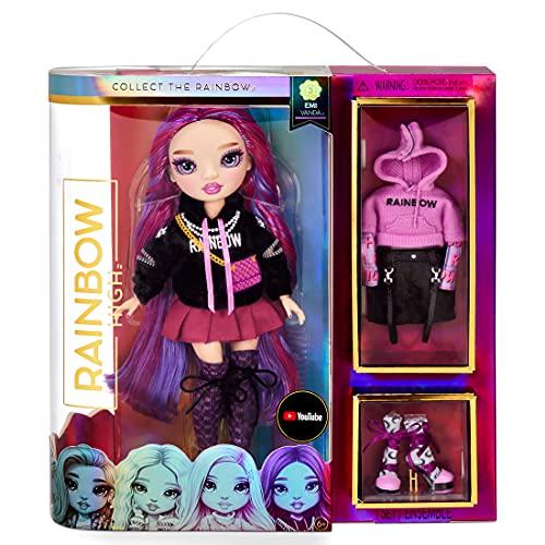 Rainbow High Lalka Modowa - Kolekcjonerska Zabawka Dla Dzieci - z 2 Strojami Oraz Akcesoriami Dla Lalek - Swietny Prezent Dla Dzieci w Wieku 6-12 Lat, EMI VANDA - Orchid (Ciemnofioletowa)