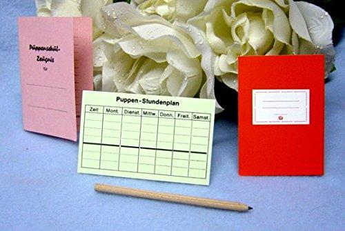 Schildkröt Schreibgarnitur, Zauberhaftes Puppenzubehör, Schulheft, Zeugnis, Stundenplan und Stift