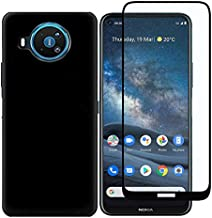 Strug for Nokia 8.3 5G Case, Soft TPU Rubber Slim Anti-Scratch Shockproof Protection Case with Tempered Glass Screen Protector for Nokia 8.3 5G(Black)