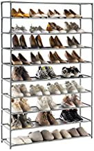 YOUDENOVA Shoe Rack Organizer with 10 Tiers, for up to 50 Pairs of Shoes, Vertical Large Shoe Rack with Removable, Water, Dust & Oil Resistant Shelves, Stackable Shoe Rack for Boot & Shoe Storage - Grey